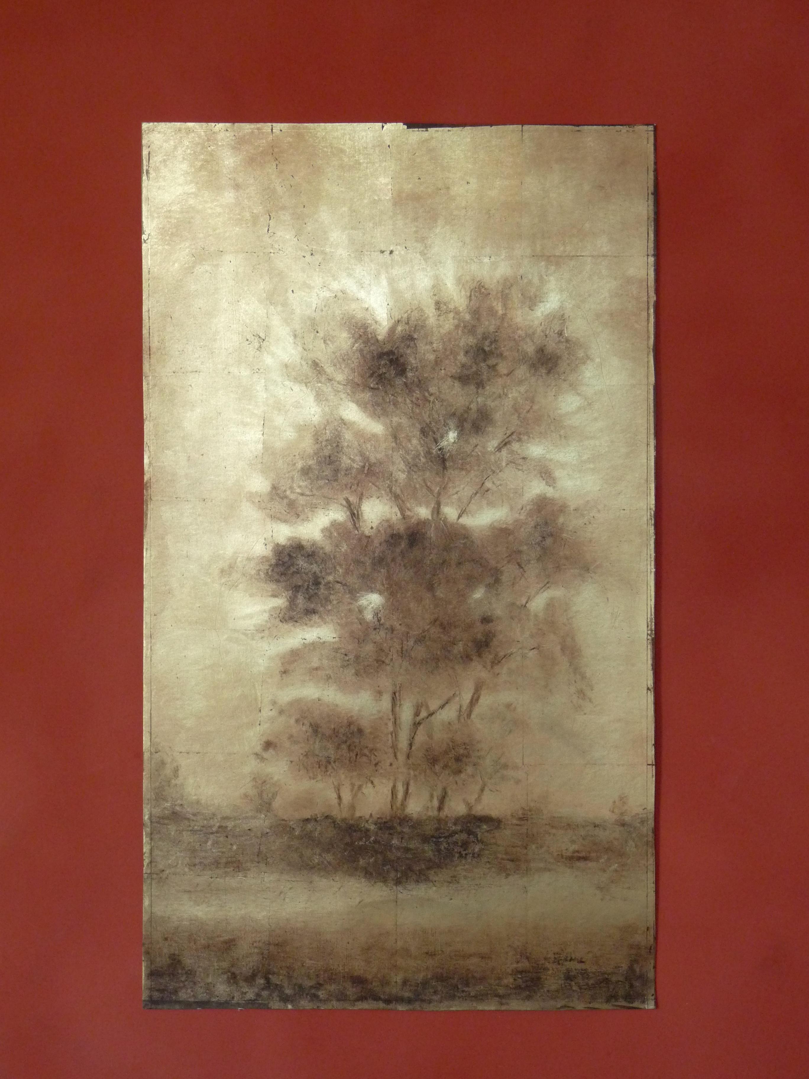 arbres en contre jour peinture sur feuilles de cuivre uvre personnelle atelier van der. Black Bedroom Furniture Sets. Home Design Ideas
